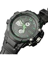 Green Mens Watch Sports Multi-Function Analog-Digital Dial Water Resistant
