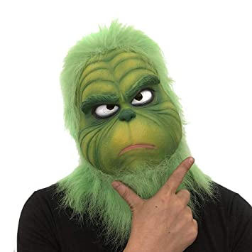 Cosplay Grinch Mask Melting Face Latex Costume Collectible Prop Animal Mask