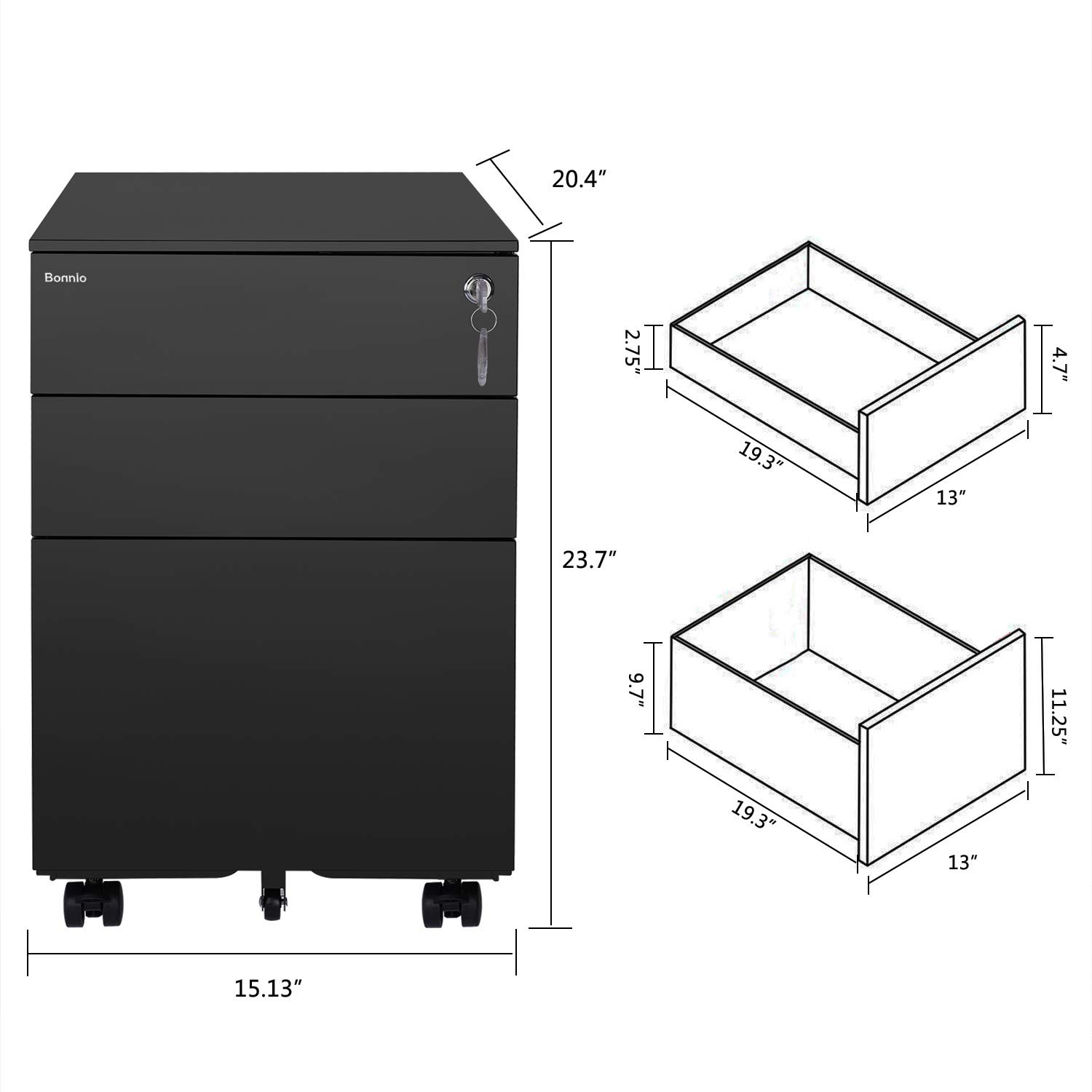 Bonnlo Mobile File Cabinet with Lock, 3 Smooth Gliding Drawers and Wheels for Home Office, Includes 25-Pack Hanging File Folders, Fully Assembled, Black by Bonnlo (Image #2)