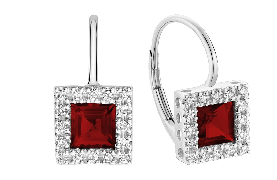 10K Gold Diamond and Princess cut Garnet Earrings (0.08TDW H-I Color,I1 Clarity) (garnet)