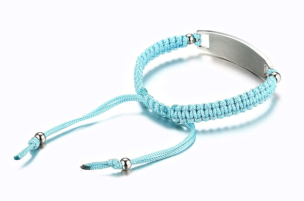 JF.JEWELRY Type 1 Diabetes Medical Alert ID Bracelet for Kids Nylon Braided Bracelet 6-8 inches Cyan