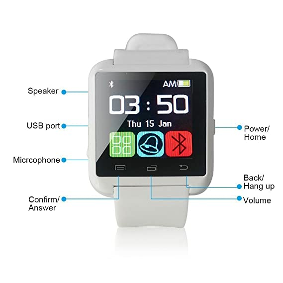 Reloj inteligente genérico U Watch U80 con Bluetooth 3.0 y correas de silicona para teléfonos inteligentes con iOS como iPhone 4, 4S, 5, 5C, ...