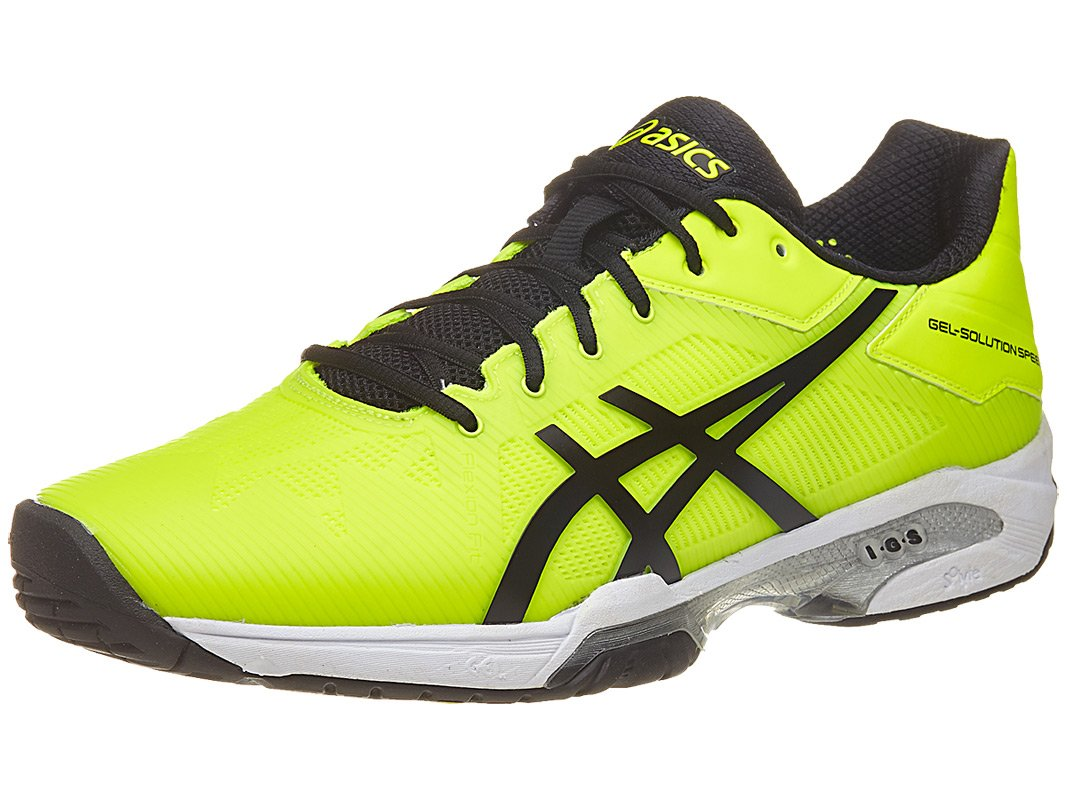 ASICS Men's Gel-Solution Speed 3 Tennis Shoe, Safety Yellow/Black/White, 9.5 M US by ASICS