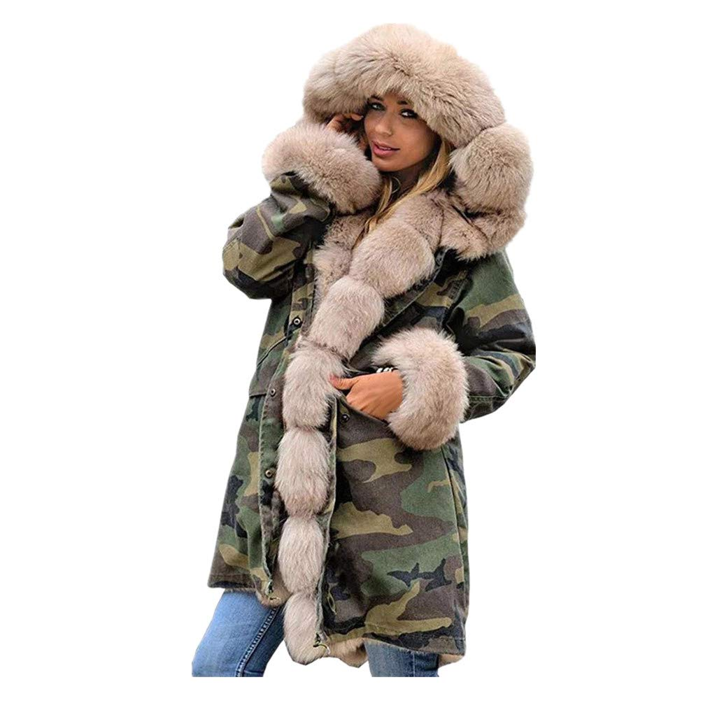 Beige Women Faux Fur Coat Camouflage Winter Thicker Hoodie Jacket Warm Parka Overcoat