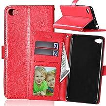 Lenovo S90 case, solid color pattern wallet style case magnetic design flip folio PU Leather cover standup cover case for Lenovo S90 ( Color : Red-Lenovo S90 )