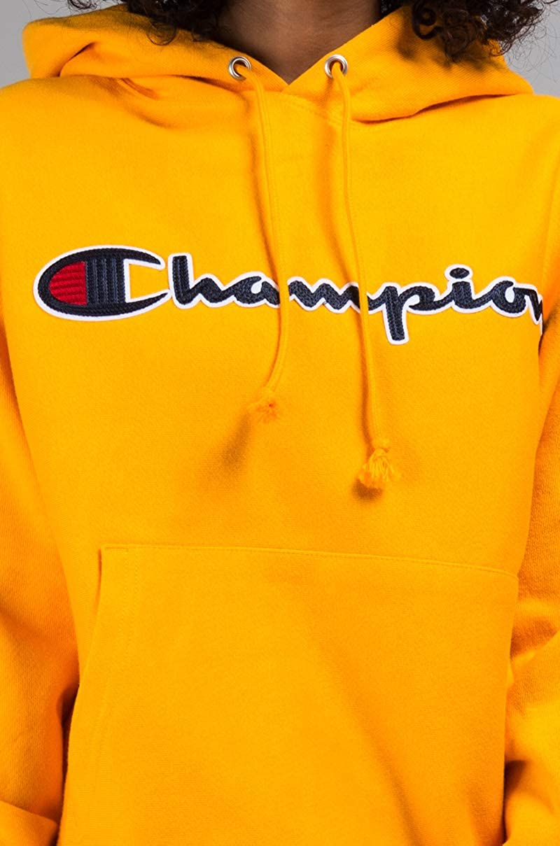 f385855cb963 Champion Unisex Reverse Weave Chainstitch Script Cursive Spellout Logo Hoodie  Sweatshirt at Amazon Women's Clothing store: