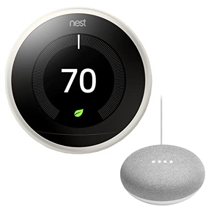 Nest T3017US Learning Thermostat (3rd Gen, White) with Google Mini Home Smart Speaker