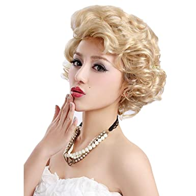 mzcurse Women s Curly Wavy Marilyn Monroe Retro Blonde Party Hair Wig(Blonde ) 9863aadb42