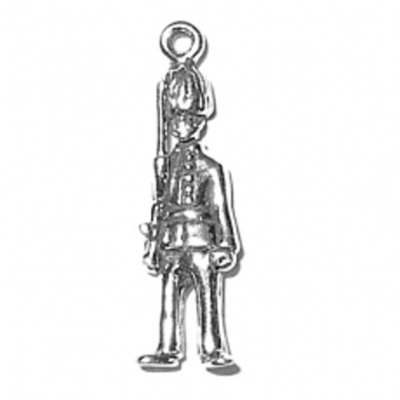 Sterling Silver Girls .8mm Box Chain 3D British Buckingham Palace Queens Guard Pendant Necklace