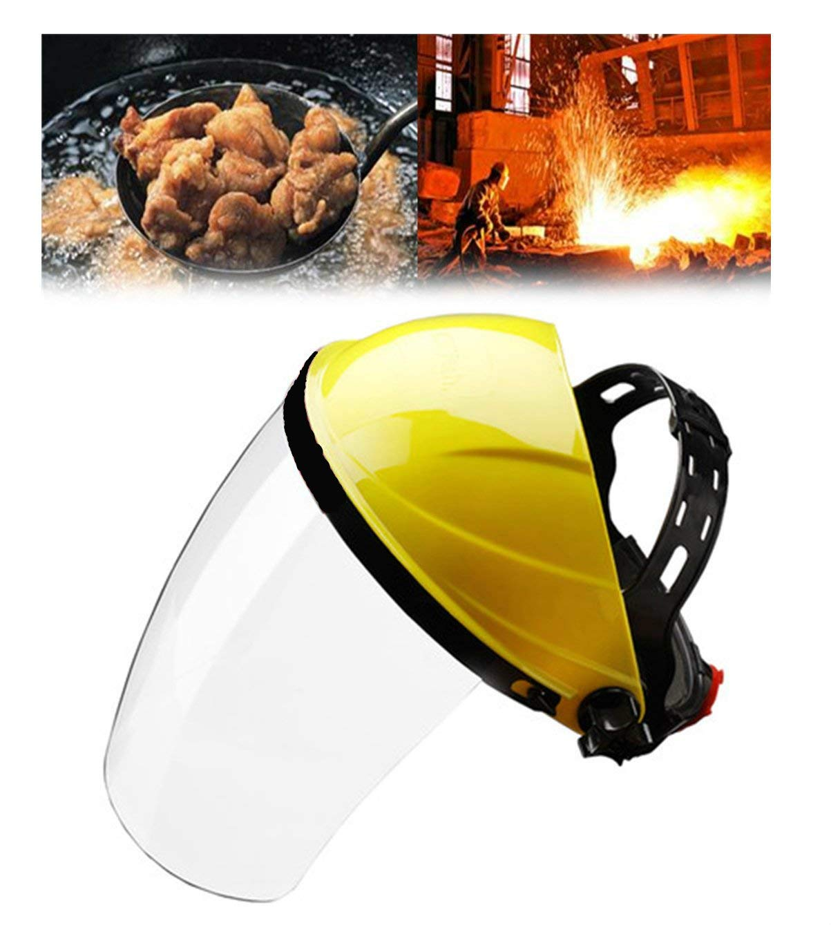 FIVE BEE Adjustable Clear Full Face Shield Visor Mask |Face and Head Coverage| Anti-smoke Masks Cooking Protective Tool | Ideal for Automotive, Construction, General Manufacturing, Mining, Oil/Gas Use