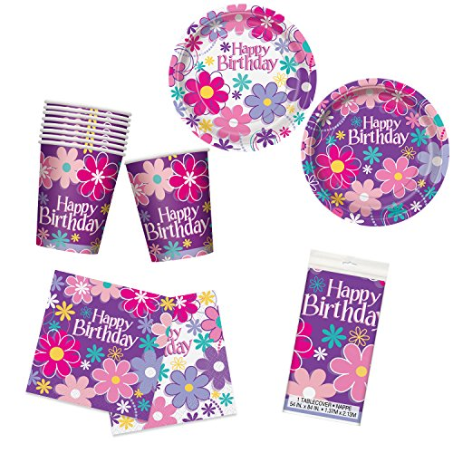 Unique Birthday Blossoms Party Bundle | Luncheon & Beverage Napkins, Dinner & Dessert Plates, Table Cover, Cups | Great for Floral/Girly Birthday Themed - Blossom Plate Luncheon