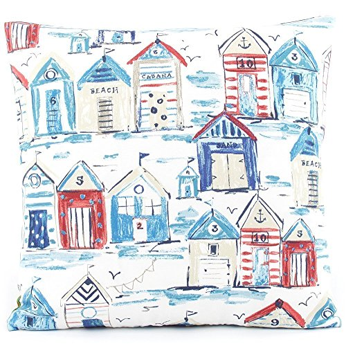 Ready or Nautical! Beach Huts / Stripes Outdoor Decorative Handmade Pillow Cover, 18x18