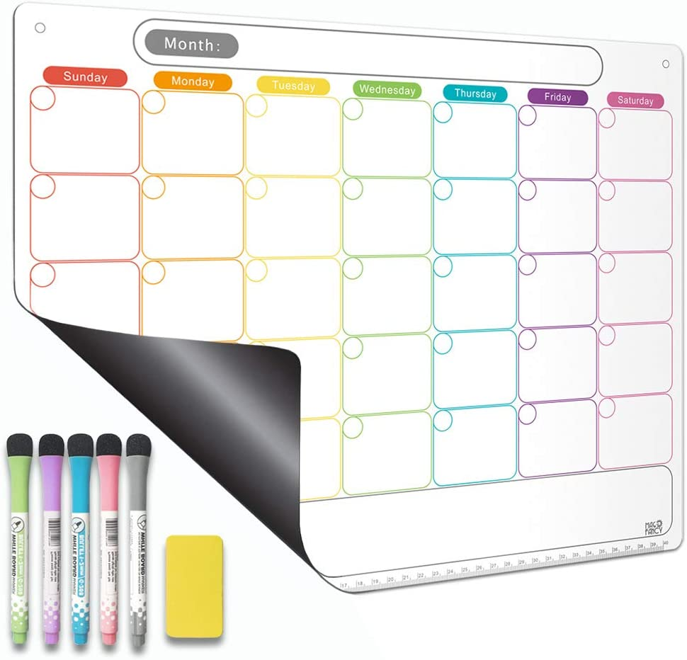 Dry Erase Calendar Kit- Magnetic Calendar for Refrigerator - Monthly Fridge Calendar Whiteboard with Thickened Magnet Included Fine Point Marker & Eraser & Holes for Wall Hanging(Monthly Calendar)