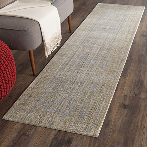 Safavieh Valencia Collection VAL104E Grey and Gold Vintage Distressed Silky Polyester Runner Rug (2'3'' x 10') by Safavieh