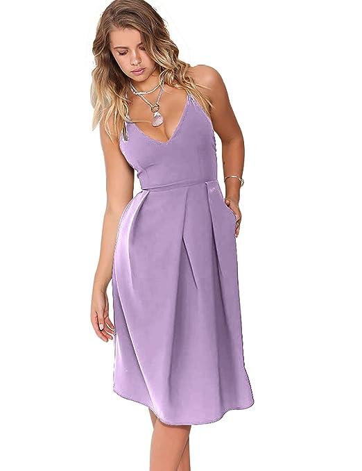 Women's Deep V Neck Adjustable Spaghetti Straps Summer Dress