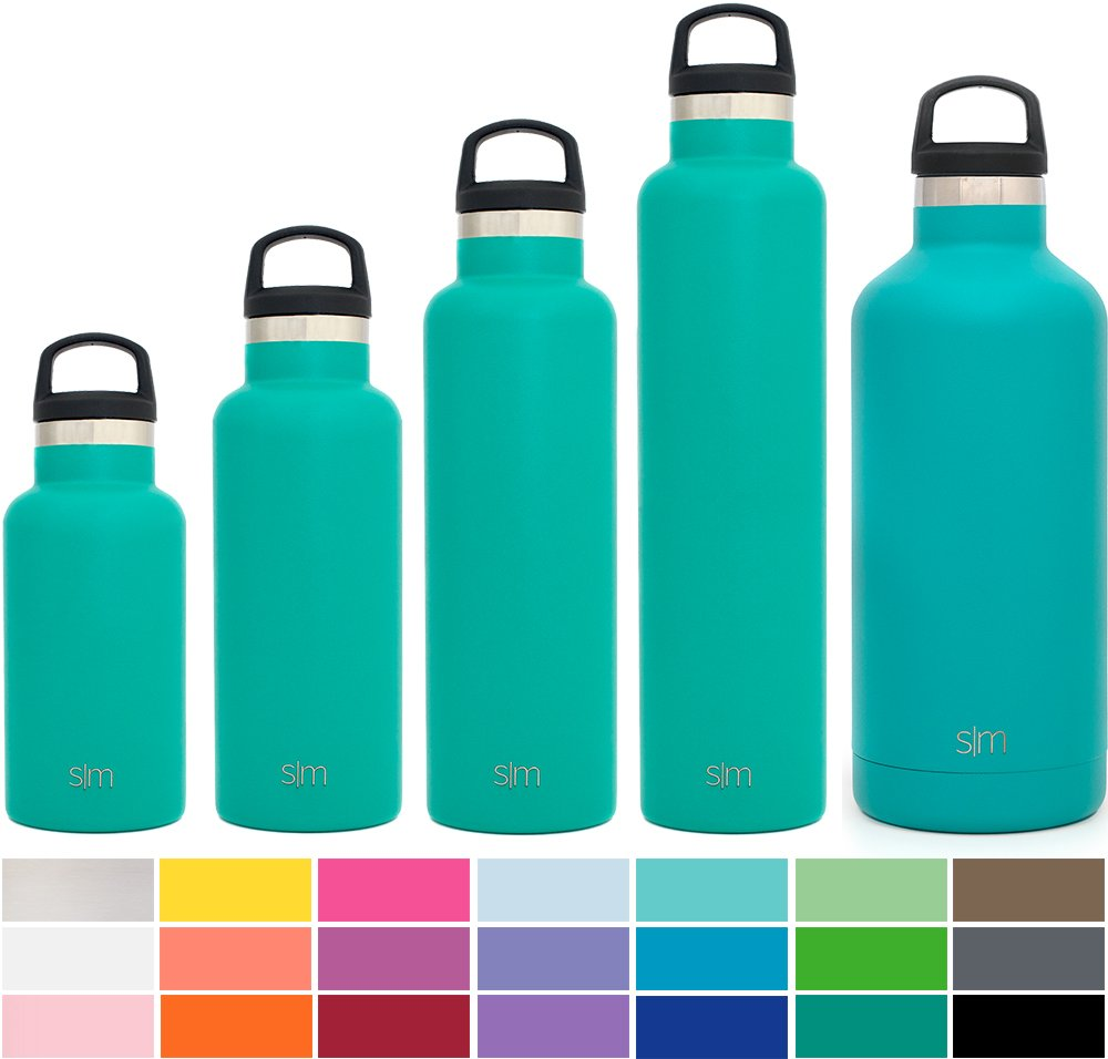 Simple Modern 17oz Ascent Water Bottle - Stainless Steel Hydro Kids Flask w/Handle Lid - Double Wall Vacuum Insulated Green Reusable Tumbler Small Metal Coffee Leakproof Thermos - Emerald