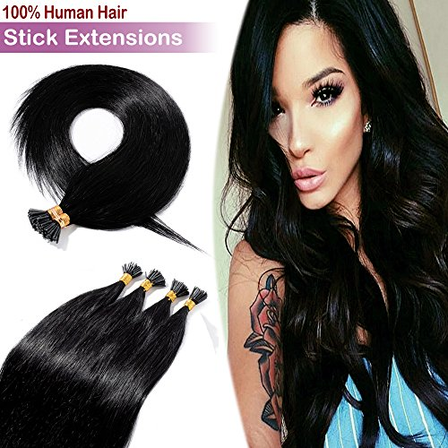 18' 100 Strands Remy I Tip Fusion Human Hair Extensions 50g Pre Bonded Italian Keratin Glue in Hair Extensions Stick Tips Extensions Long Straight #1B Off Black
