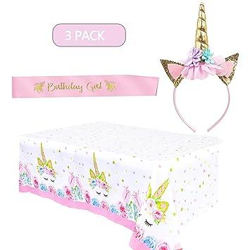 LABOTA Unicornio Decoraciones Cumpleaños Suministros - 1* Unicornio Diadema 1* Satin Sash de Cumpleaños, 1* Mantel Desechable Unicornio para Niños ...