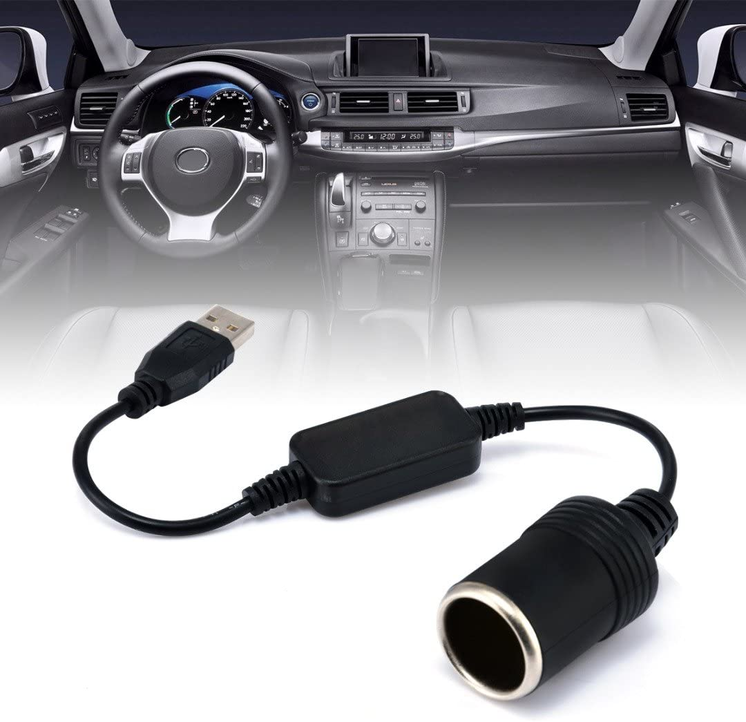 Efanr 4ft 5V USB A Male to 12V Car Cigarette Lighter Socket Female Converter Cable Cord