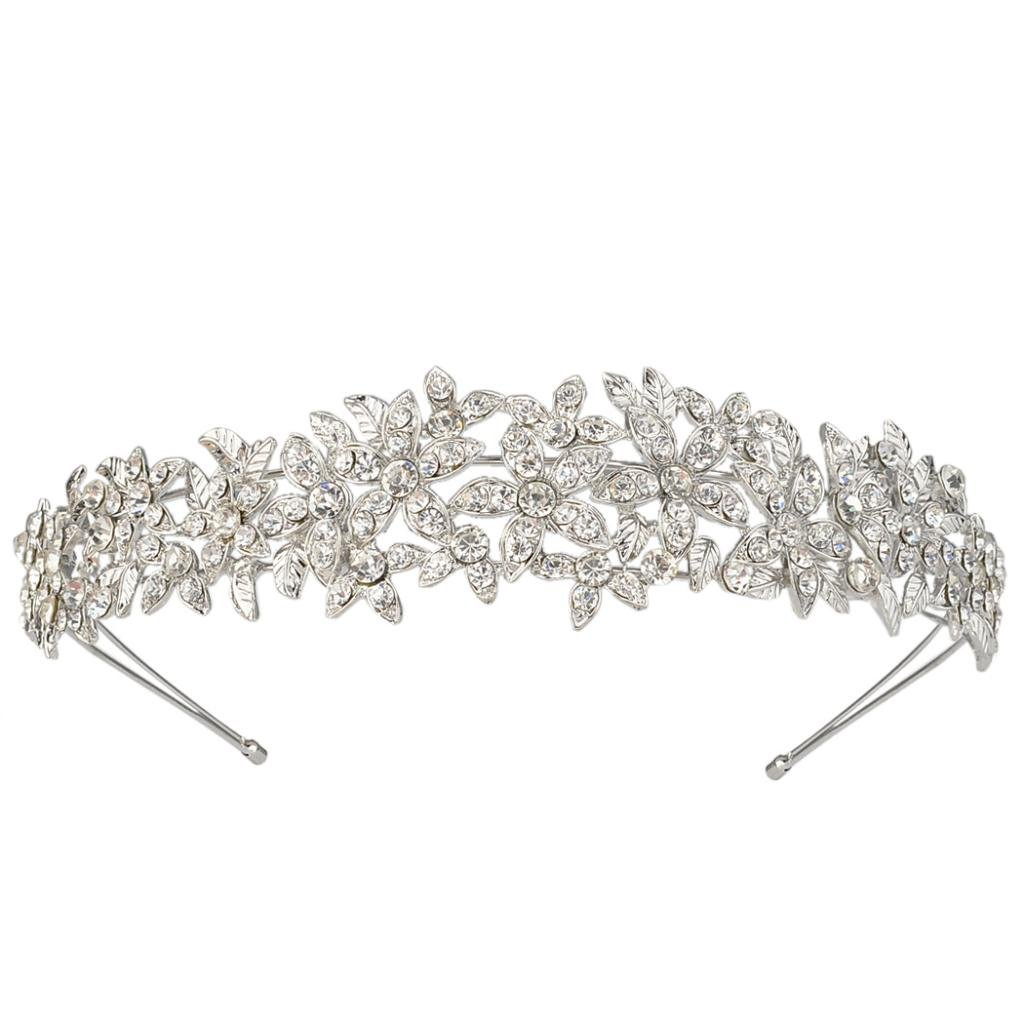 EVER FAITH Women's Austrian Crystal Wedding Flower Cluster Hair Band Clear Silver-Tone