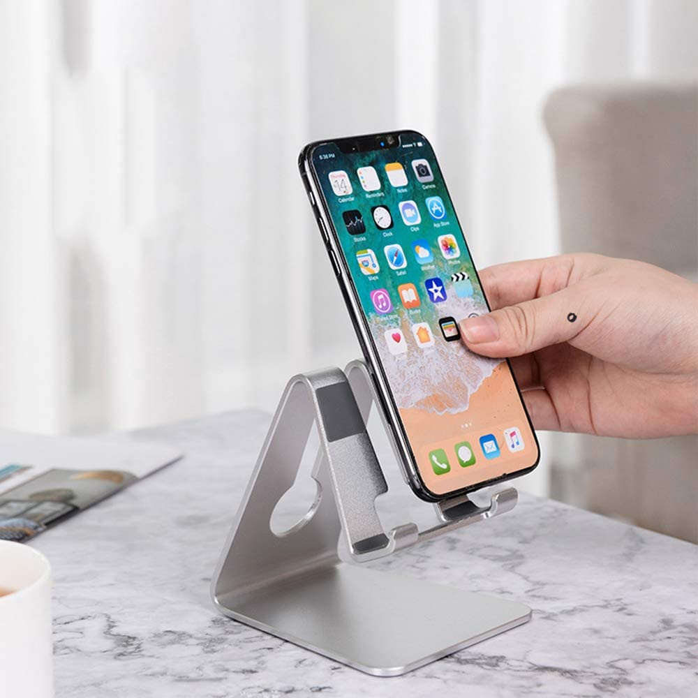 YXCM Phone Stand Adjustable Cell Phone Stand Desktop Cellphone Stand with Convenient Charging Port Fits for All Smart Phones,Silver
