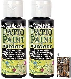 DecoArt Patio Paints - 2 Pack 2oz Wrought Iron Paint - Acrylic Water Based Weatherproof Paint -Scruff & Scratch Resistant Outdoor Paint for Patio Decor, Concrete Art, Terracotta & Wood crafts + E-book