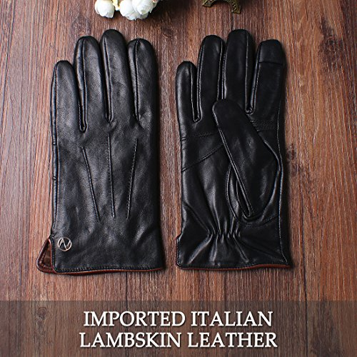 Nappaglo Men's Genuine Touchscreen Nappa Leather Gloves Driving Winter Warm Mittens (M (Palm Girth:8''-8.5''), Black (Touchscreen)) by Nappaglo (Image #4)