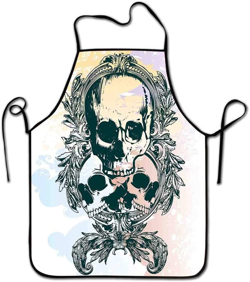 Not Applicable Delantal de Calavera Trío de Cabeza de Esqueleto de rockero Mortal Aterrador para niños con Marcos de Hojas Delantal de Imagen Esmeralda Lila de Mujer Amarillo pálido