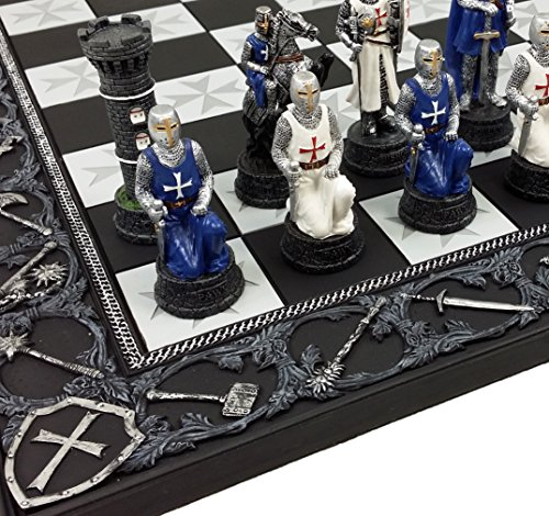 HPL Medieval Times Crusades Blue and White Armored Maltese Knights Chess Set with 17