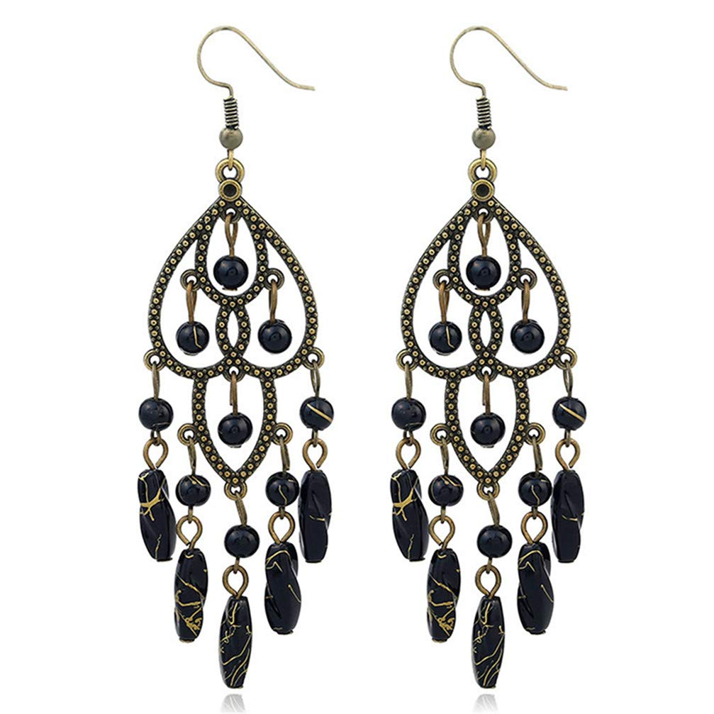 Ancient Gold Color /& Black Myhouse Charm Bohemia Earrings Vintage Long Tassel Personality Drop Dangle Earrings for Girls