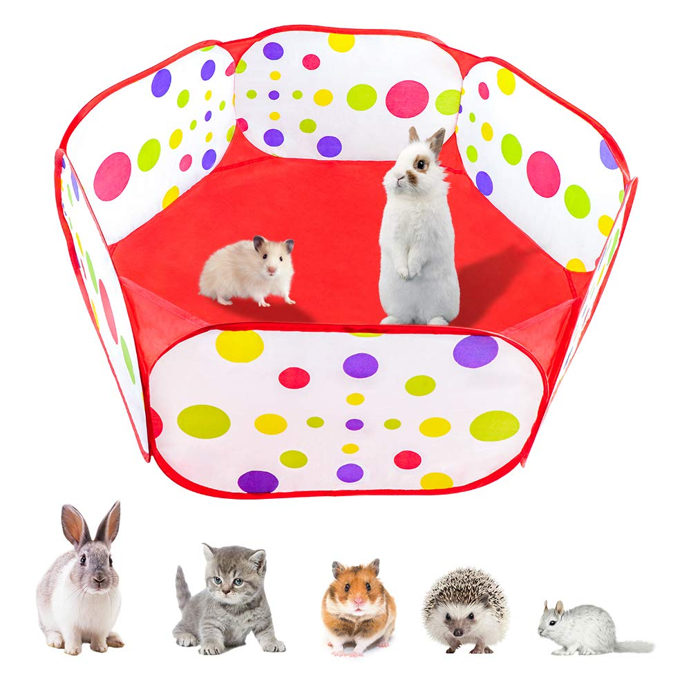 TOPNEW Foldable Small Animals Playpen, Breathable & Transparent Pop Open Outdoor/Indoor Pet Exercise Fence, Portable Yard Fence for Hamster, Rabbits, Chinchillas, Hedgehogs & Guinea Pigs by TOPNEW