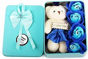 4 قطع من الصابون الصناعي على شكل زهرة الروز مع دب صغير و علبة تعبئة حديدية، هدية لعيد الحب، ديكور لحفل الزفاف، هدية لعيد الأم، أزرق