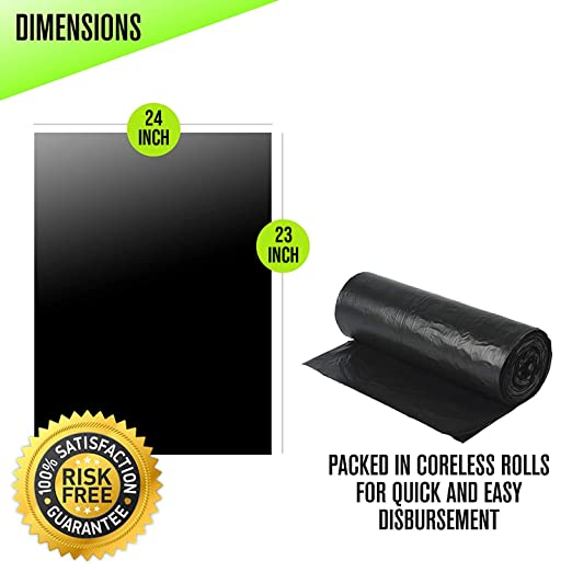 56 gal Aluf Plastics RCT-56X Star Sealed Coreless Rolls with E-Z Tie Flap Closure Polyethylene Black Pack of 100 43 x 46