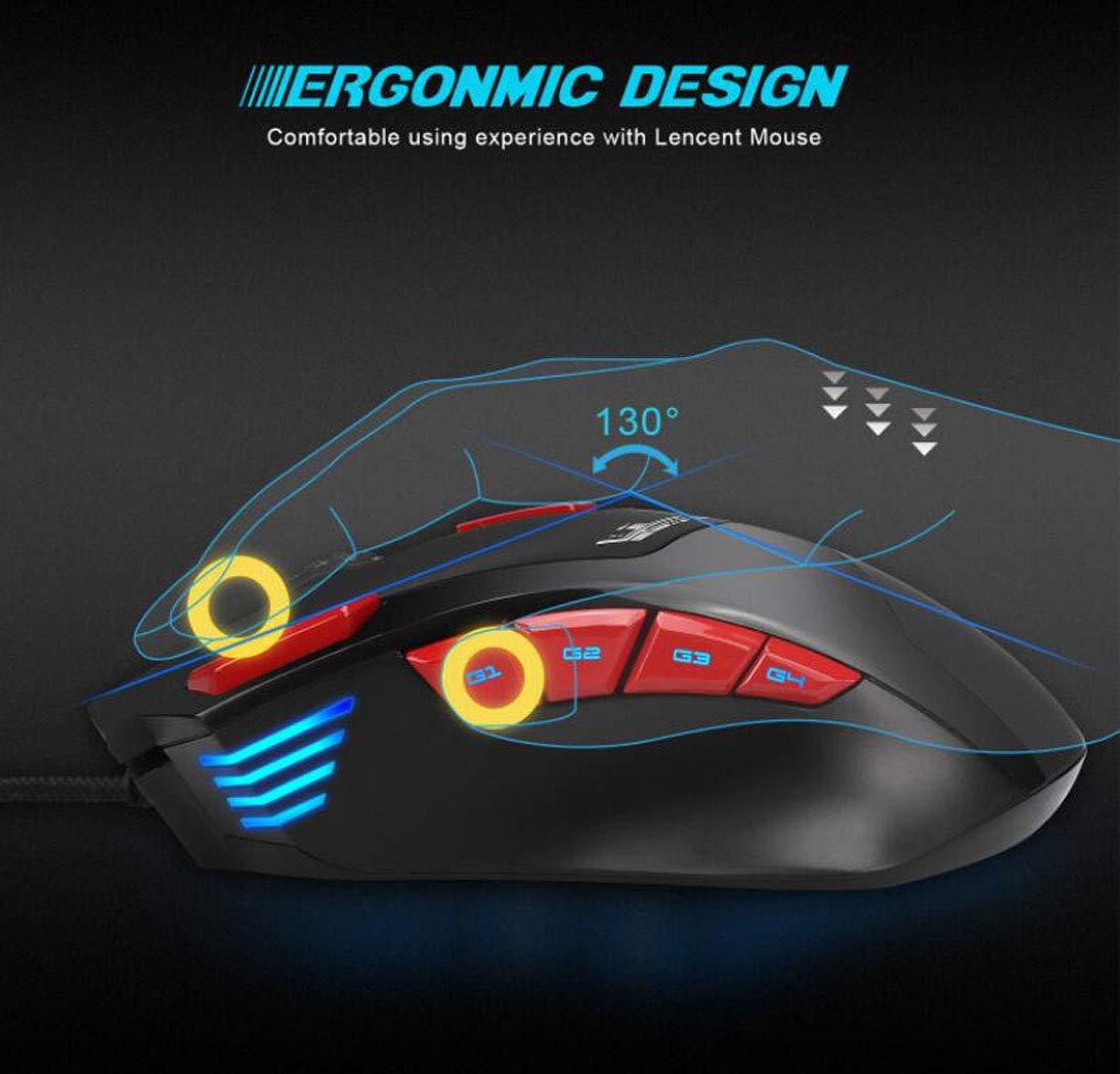 Gaming Mouse Sensor Óptico Chip 0,5 Elevación Distancia, Computadora Ratón USB Macro Definición Ratón De Juego, 9-Clave Ratón Iluminante hasta 6000Dpi: ...