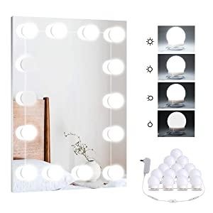 Hollywood DIY LED Vanity Lights Strip Kit with 14 Dimmable Light Bulbs for Dressing Mirror & Makeup Table Mirror, Plug in Vanity Mirror Lights with Power Supply, White (No Mirror Included)