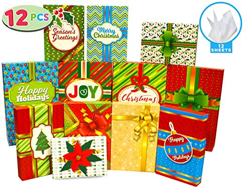 12 Pieces Christmas Holiday Gift Wrap Boxes with Multi Color Lids for Festive Xmas Wrapping Shirt, Lingerie and Robe Clothes Boxes, School Classroom Party Favors Decoration, Holiday Present Wrap Décor -