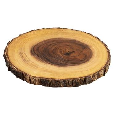 Villa Acacia Live Edge Wood Serving Platter 9  - Natural and Organic Raw Bark Edge (Single, Medium)