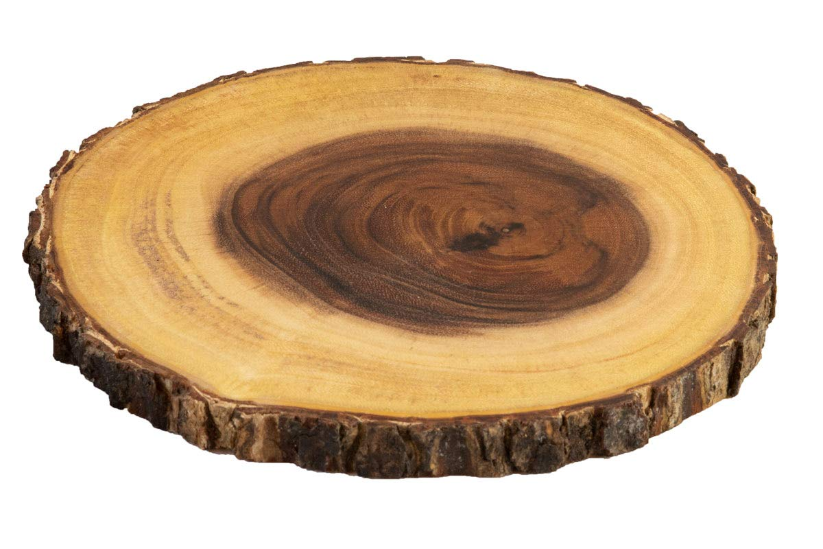 Villa Acacia Live Edge Wood Serving Platter 9'' - Natural and Organic Raw Bark Edge (Single, Medium)