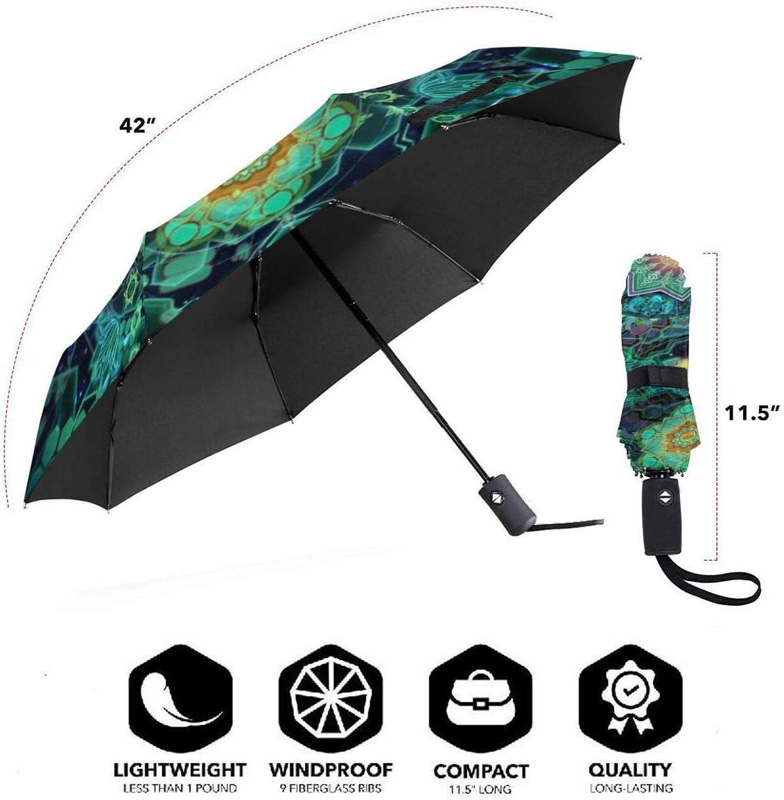 Psychedelic Visionary Art Umbrella Compact Rain/&Wind Repellent Umbrellas Sun Protection With Anti UV Coating Travel Auto Folding Umbrella