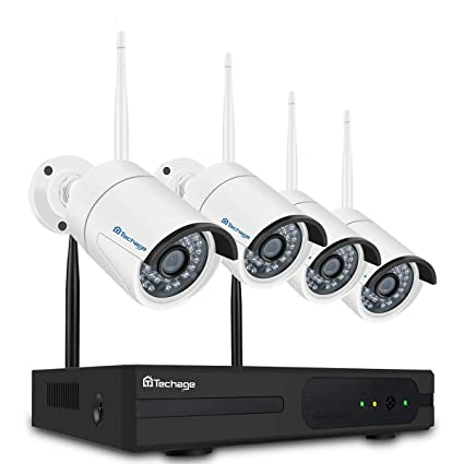 149e88380 Image Unavailable. Image not available for. Color  Techage 4CH Wireless NVR  Kit Plug and Play 1080P HD Outdoor Night Vision 2.0mp Security