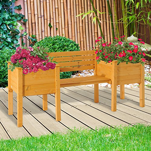NEW Yellow Fir wood Wooden Garden Bench W/ Flower Bed Planter Patio Outdoor Furniture by Baskets, Pots & Window Boxes (Image #1)