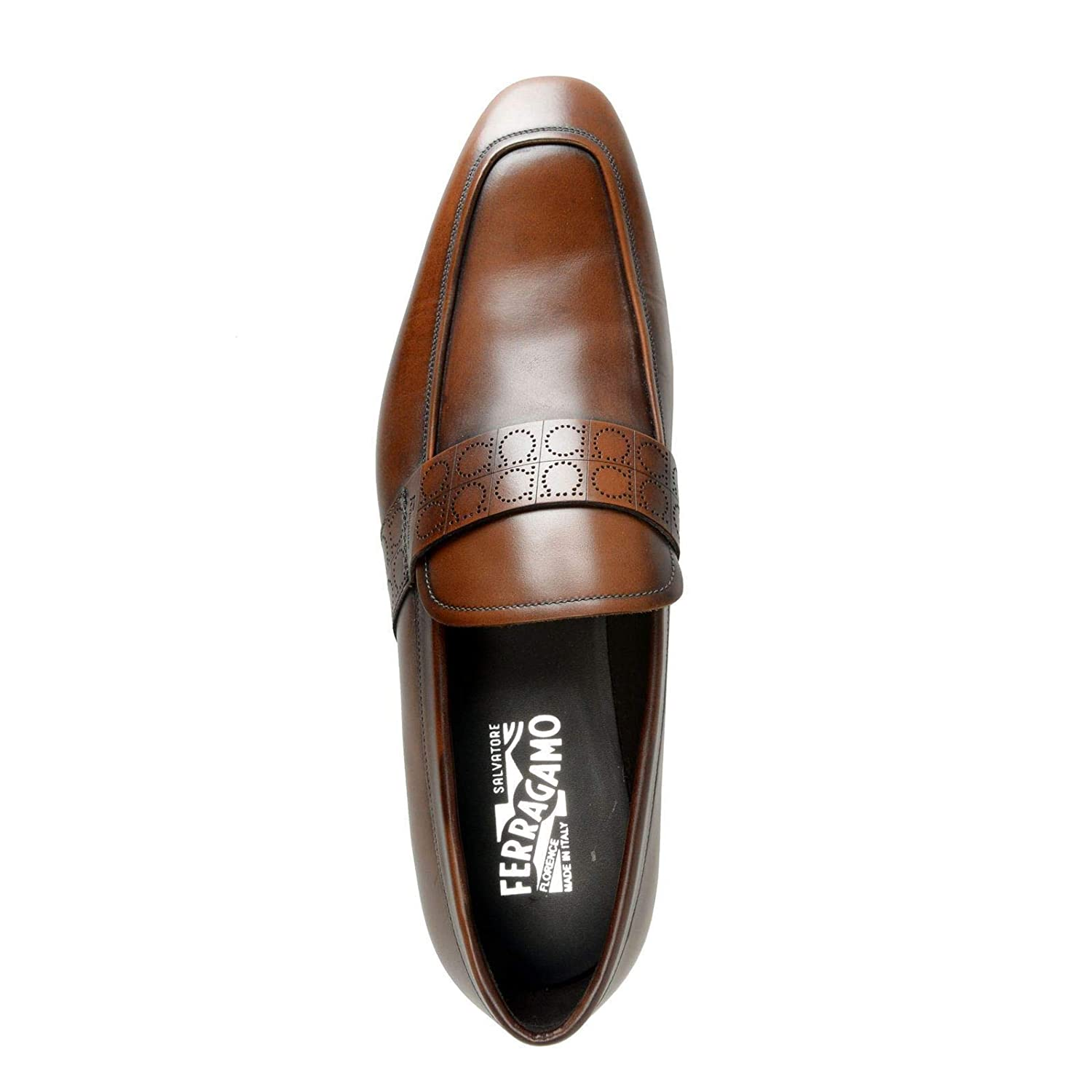 Amazon.com: Salvatore Ferragamo Mens Goliath Brown Leather Slip On Loafers Shoes US 10EE IT 43EE: Shoes