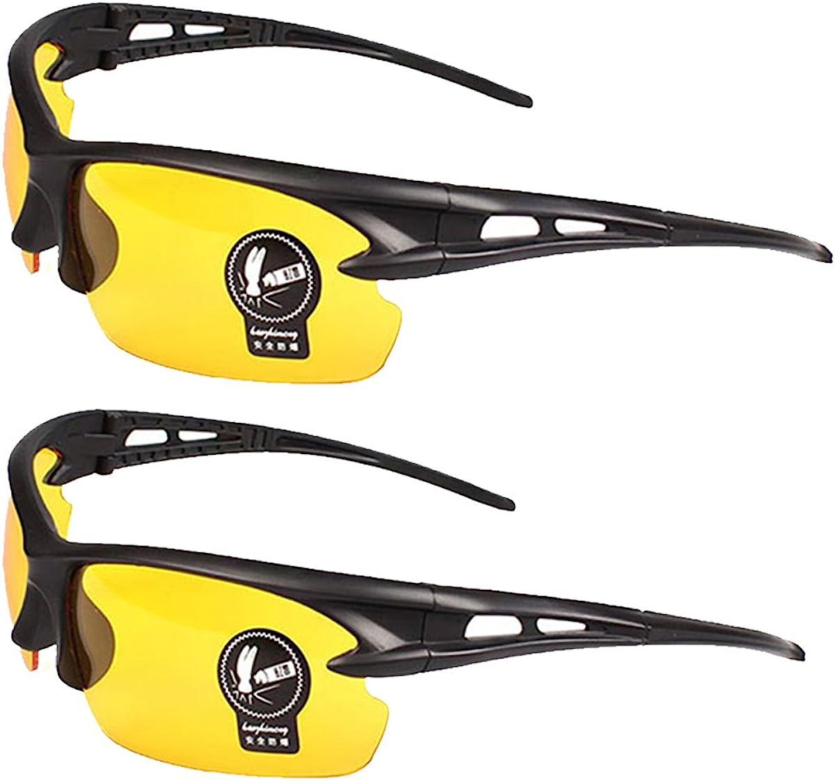 2 Pares Gafas de Sol Unisex Visión Nocturna Lentes Amarillas Sin Polariza Antideslumbrante Protección UV400 Conducción Disparos de Pesca Esquí de Caza Gafas Deportes al Aire Libre para Hombres Mujeres