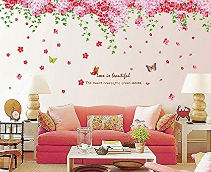 Syga Cherry Blossom Flowers Tree Wall Sticker (PVC Vinyl, 61 cm x 5 cm x 5 cm)