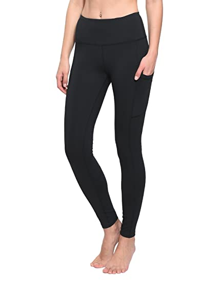 ea4c415897d96 Baleaf Women's High Waist Yoga Pants Active Workout Leggings Tummy Control Side  Pockets Black Size XS