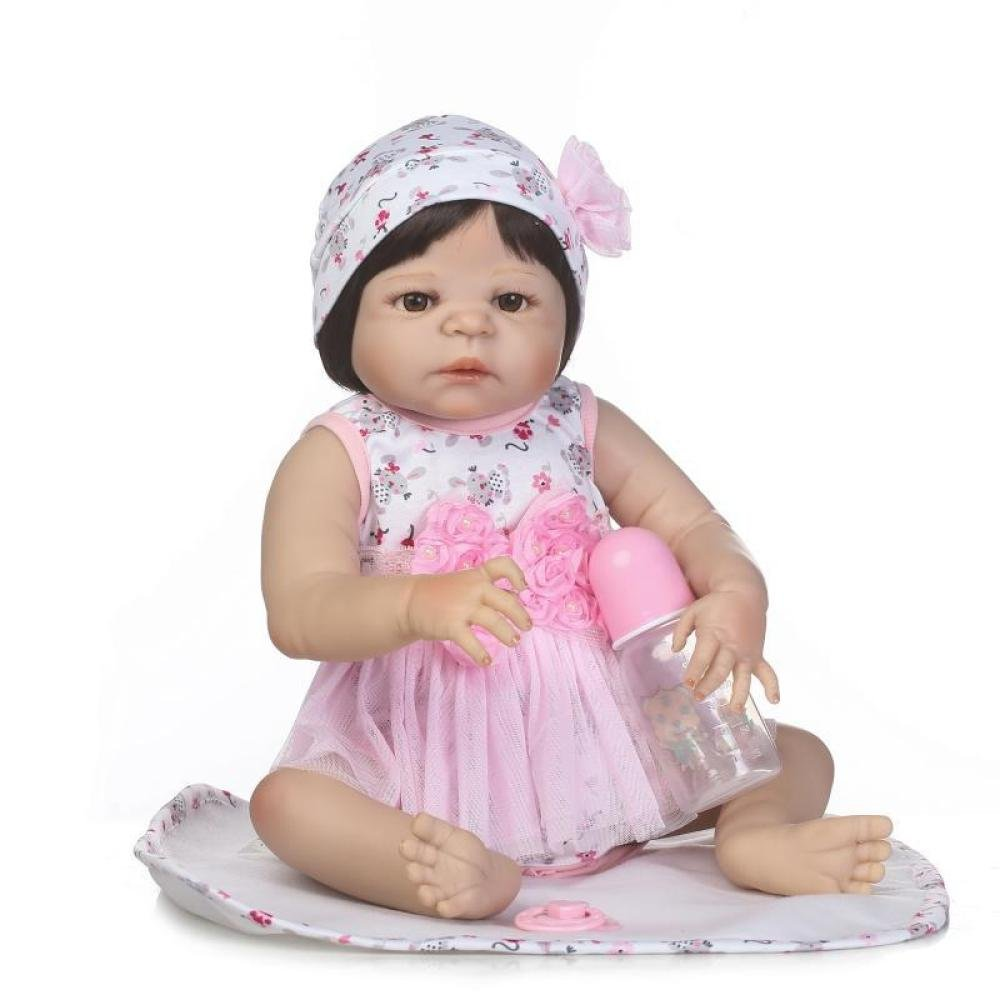 QXMEI Baby-Puppe Weich Simulation Silikon 22 Zoll 57 cm Magnetisch Mund Lebensechte Boy Mädchen Spielzeug