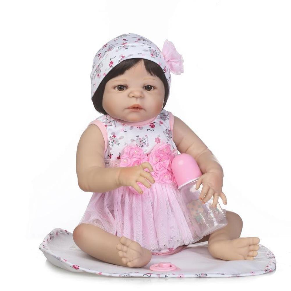 GUOHONG-CX Simulations Wiedergeburt Puppen Silikon Nettes Baby Kann Wasser Begleiten Um Spielzeug Kind Kreatives Geschenk 56CM Zu Begleiten