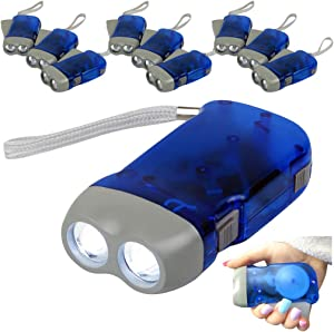 Evelots Hand Crank Flashlight-Camp-Home-Car-No Battery-LED Bright Light-Set/12