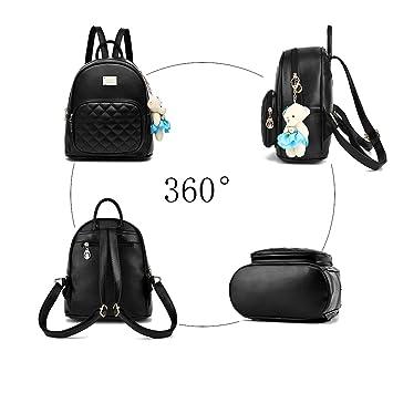 3f0de21bd2630 Fanshu Damen Leder Rucksack Handtasche Schultasche Mädchen Freizeit  Reiserucksack Blau  Amazon.de  Koffer