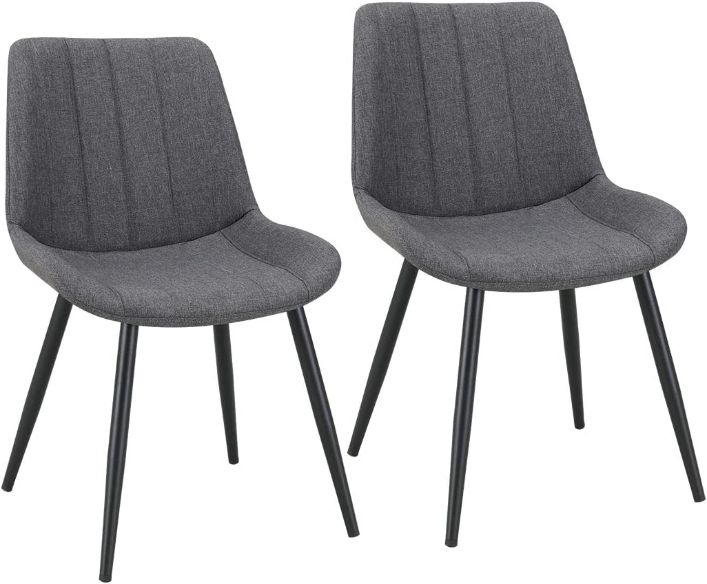2er Set Esszimmerstuhl aus Stoff Samt Polsterstuhl Retro Design Stuhl mit Rückenlehne Metallbeine Farbauswahl Duhome 8075C3, Farbe:Dunkelgrau,